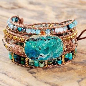 Handmade Leather & Stone Chrysocolla Bracelet
